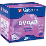 Verbatim 95038 DVD Recordable Media - DVD+R - 16x - 4.70 GB - 20 Pack Slim Case 95038