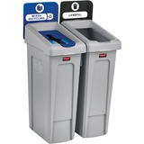 Rubbermaid Commercial Slim Jim Recycling Station 2 Stream Landfill/Mixed Recycling