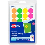 Avery Print or Write Round Color Coding Label - 0.75 Diameter - Removable - 1008 Label - Assorted