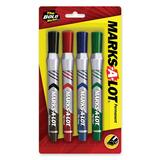 Avery Marks-A-Lot Everbold Flip Chart Markers - Chisel Marker Point Style - Blue Ink, Black Ink, Red Ink, Green Ink - 4 / Set