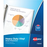 Avery Top Loading Sheet Protector - 100 Sheet Capacity - Letter 8.5 x 11 - Vinyl - 100 / Box - Clear