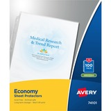 Avery Economy Weight Sheet Protector - Letter 8.5' x 11' - Polypropylene - 100 / Box - Non-glare, Semi Clear