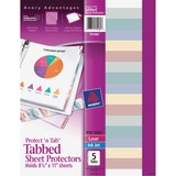 Avery Protect 'n Tab Top Loading Sheet Protector - Letter 8.5' x 11' - Polypropylene - 5 / Set - Clear
