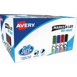 Avery Marks-A-Lot Dry Erase Marker - Chisel Marker Point Style - Black Ink, Blue Ink, Green Ink, Red Ink - 4 / Pack