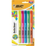 BIC Brite Liner Highlighter - Chisel Marker Point Style - Yellow Ink, Pink Ink, Orange Ink, Blue Ink, Green Ink - 5 / Set