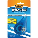 BIC Wite-Out Correction Tape - 11yd Length - 1 Line(s) - White Tape - Ergonomic Dispenser - Tear Resistant, Photo-safe, Odorless - 1 Each - Purple Dispenser