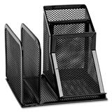 Rolodex Expressions Mesh Desk Organizer - 4 Compartment(s) - Steel - Black