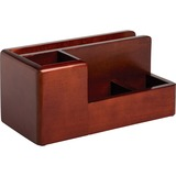 Rolodex Wood Tones Desktop Organizer - 4 Compartment(s) - Wood - Mahogany