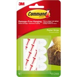 3M Command Adhesive Poster Strip - Removable - 12 / Pack - White