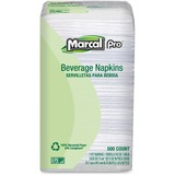 Marcal Beverage Napkin - Beverage Napkin - 1 Ply - 500 Per Pack - 9.25' x 9.5' - White