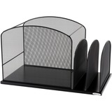 Safco Mesh Hanging File Desk Organizer - 11.25' x 19.37' x 11.37' - Steel - Black