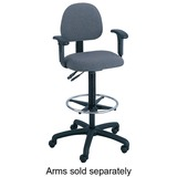 Safco Trenton Extended Height Chair - Steel Black Frame - Polyester Dark Gray, Olefin Dark Gray Seat