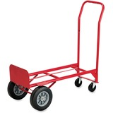 Safco Convertible Hand Truck - 600 lb Capacity - 2 x 4', 2 Caster - Steel - 18' x 16' x 51' - Red
