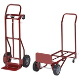 Safco Convertible Hand Truck - 400 lb Capacity - 2 x 8', 2 x 4' Caster - Steel - 18' x 16' x 51' - Red