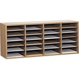 Safco 24 Compartment Adjustable Shelves Literature Organizer - 16.37 x 39 x 11.75 - 24 Compartment(s) - Wood - Medium Oak