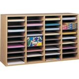 Safco 36 Compartment Adjustable Shelves Literature Organizer - 24' x 39' x 11.75' - 36 Compartment(s) - Wood - Medium Oak