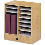 Safco 14 Compartment Adjustable Literature Organizer - 22.25', 2.75' x 19.5', 17.5' x 11.75', 10.5' - 14 Compartment(s) - Wood - Medium Oak