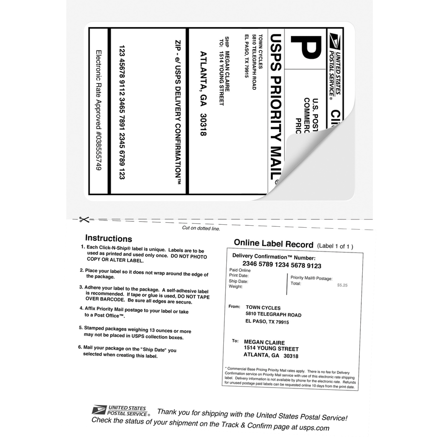 avery shipping labels with paper receipt with trueblock technology