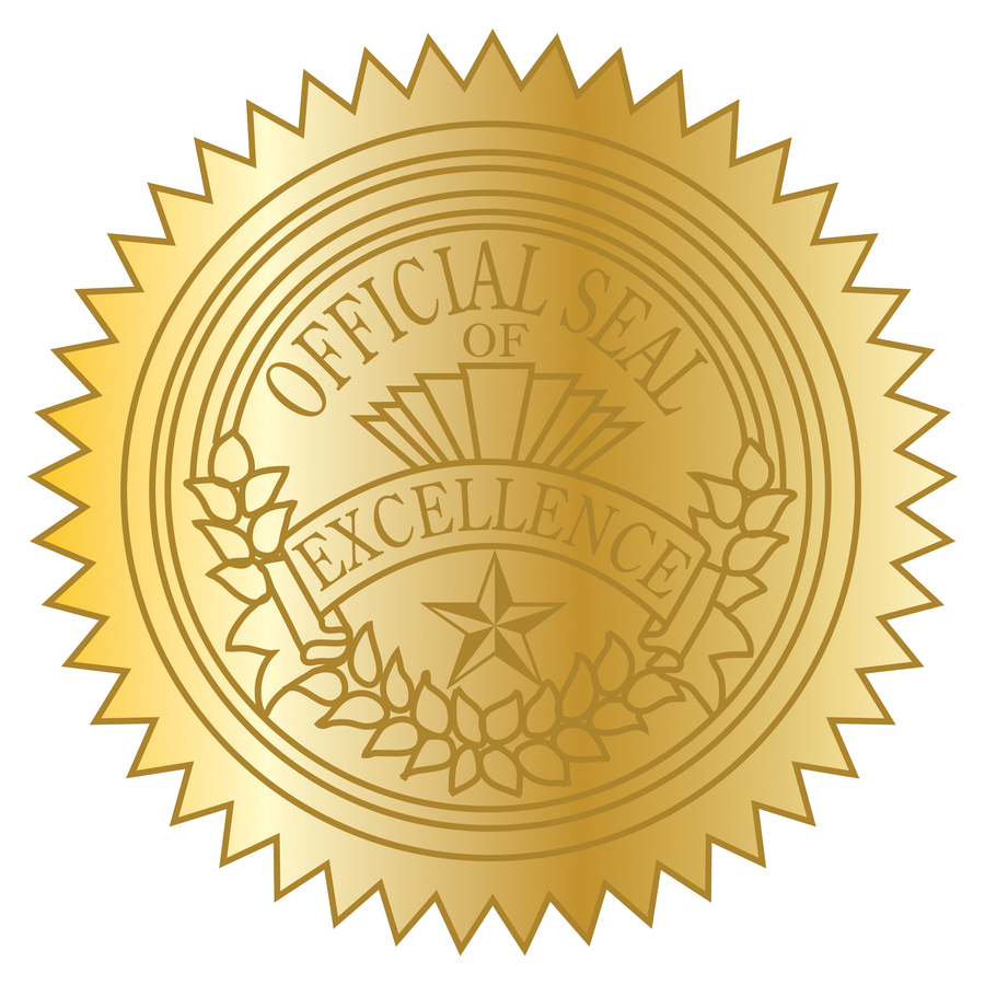 Geographics Gold Excellence Certificate Seals Servmart