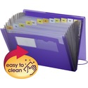 Smead Poly Expanding File, 12 Pockets, Flap and Cord Closure, Letter Size, Purple ( 70879)