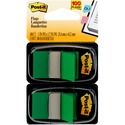Post-it Flags, Green, 1 in Wide, 50/Dispenser, 2 Dispensers/Pack