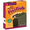 Smead 100% Recycled FasTab? Hanging File Folder, 1/3-Cut Built-In Tab, Letter Size, Moss, 20 per Box (64037)