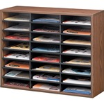 Fellowes Literature Organizer - 24 Compartment, Letter, Medium Oak FEL25043