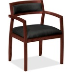 Basyx by HON VL852 Slim Black Leather Guest Side Chair BSXVL852NST11