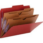 Smead 14082 Bright Red Pressboard Classification Folders with Pocket-Style Dividers and SafeSHIELD Fasteners SMD14082