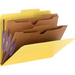 Smead 14084 Yellow Pressboard Classification Folders with Pocket-Style Dividers and SafeSHIELD Fasteners SMD14084