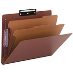 Smead 14230 Red Pressboard Classification Folder with SafeSHIELD Fasteners SMD14230