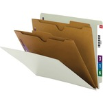 Smead 26710 Gray/Green End Tab Classification Folders with Pocket-Style Dividers and SafeSHIELD Fasteners SMD26710