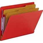 Smead 26783 Bright Red End Tab Pressboard Classification Folders with SafeSHIELD Fasteners SMD26783