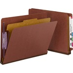 Smead 26855 Red End Tab Pressboard Classification Folders with SafeSHIELD Fasteners SMD26855