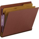 Smead 26860 Red End Tab Pressboard Classification Folders with SafeSHIELD Fasteners SMD26860