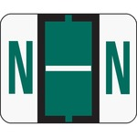 Smead 67084 Dark Green BCCR Bar-Style Color-Coded Alphabetic Label - N SMD67084