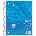 Sparco Quality Wirebound 5-Subject Notebook SPR83255