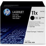 HP 11X 2-pack High Yield Black Original LaserJet Toner Cartridges HEWQ6511XD