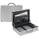 """Solo Classic Carrying Case (Attaché) for 17"""" Notebook, Tablet PC, Digital Text Reader - Silver USLAC10010"""