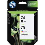 HP 74 Black/75 Tri-color 2-pack Original Ink Cartridges HEWCC659FN