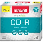 Maxell CD Recordable Media - CD-R - 40x - 700 MB - 10 Pack Slim Jewel Case MAX648210