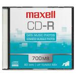 Maxell CD Recordable Media - CD-R - 48x - 700 MB - 1 Pack Slim Jewel Case MAX648201