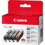 Canon CLI-221 Ink Cartridge - Assorted, Cyan, Magenta, Yellow CNMCLI221CLPK