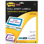 Post-it Super Sticky Full Sheet Label MMM2500L
