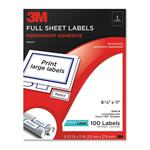 3M Permanent Adhesive Full Sheet Label MMM3100M