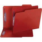 Smead 14936 Bright Red Colored Pressboard Fastener File Folders with SafeSHIELD Fasteners SMD14936