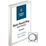 "Business Source Round Ring View Binder - 0.5"" Capacity - 1 Each - White BSN09951"