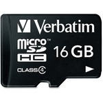 Verbatim 16GB MicroSDHC Memory Card with Adapter, Class 4 VER97180