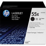 HP 55X (CE255XD) 2-pack High Yield Black Original LaserJet Toner Cartridges HEWCE255XD
