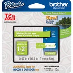 Brother TZe-MQG35 White on Lime Green Label Tape BRTTZEMQG35